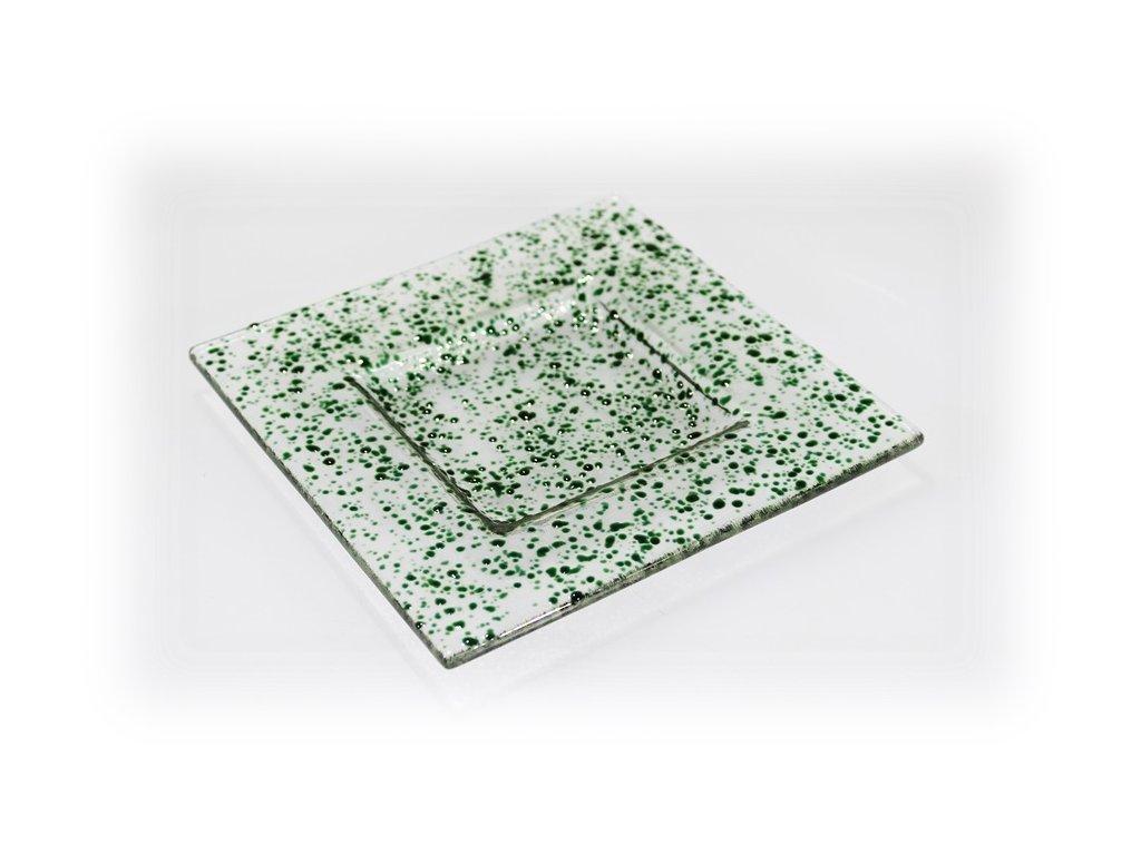 skleněný tácek FULL DROP 16x16 tmavě zelený