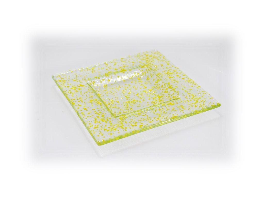 skleněný tácek FULL DROP 16x16 tmavě žlutý