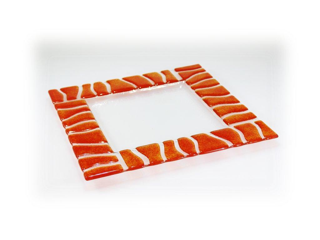 skleněný tác fusing oranžový