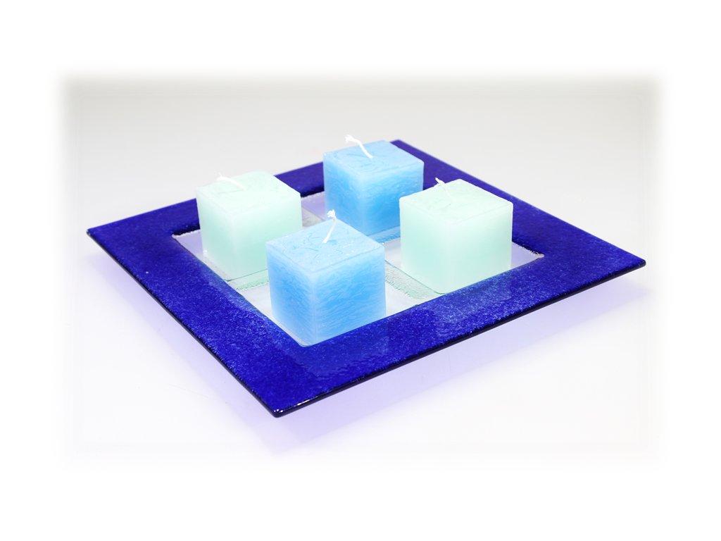Adventní tác na 4 svíčky modrý