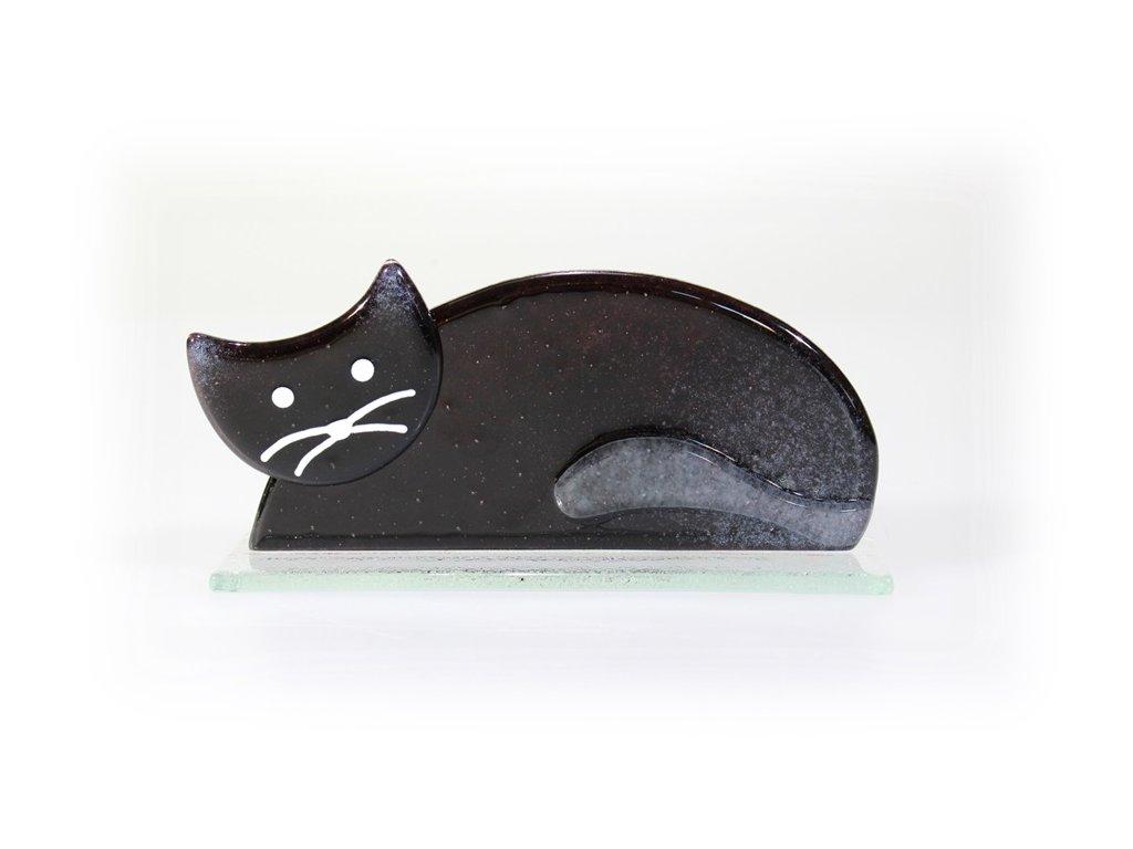 skleněná kočka černá černá ležicí