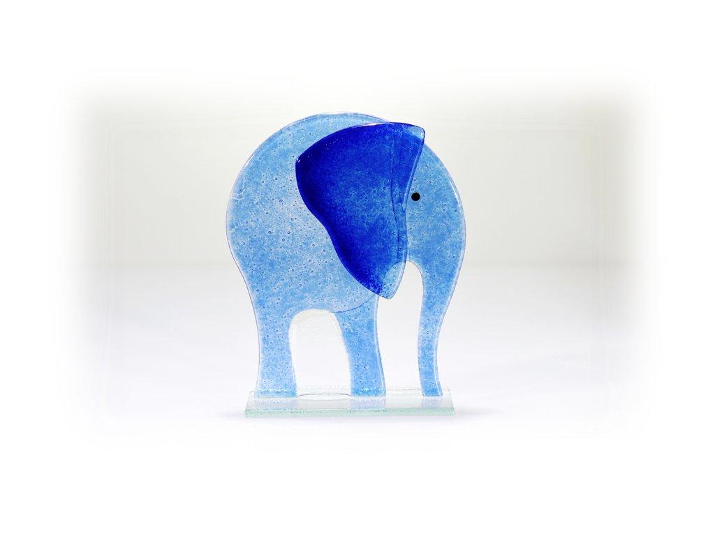 skleněný slon modrý