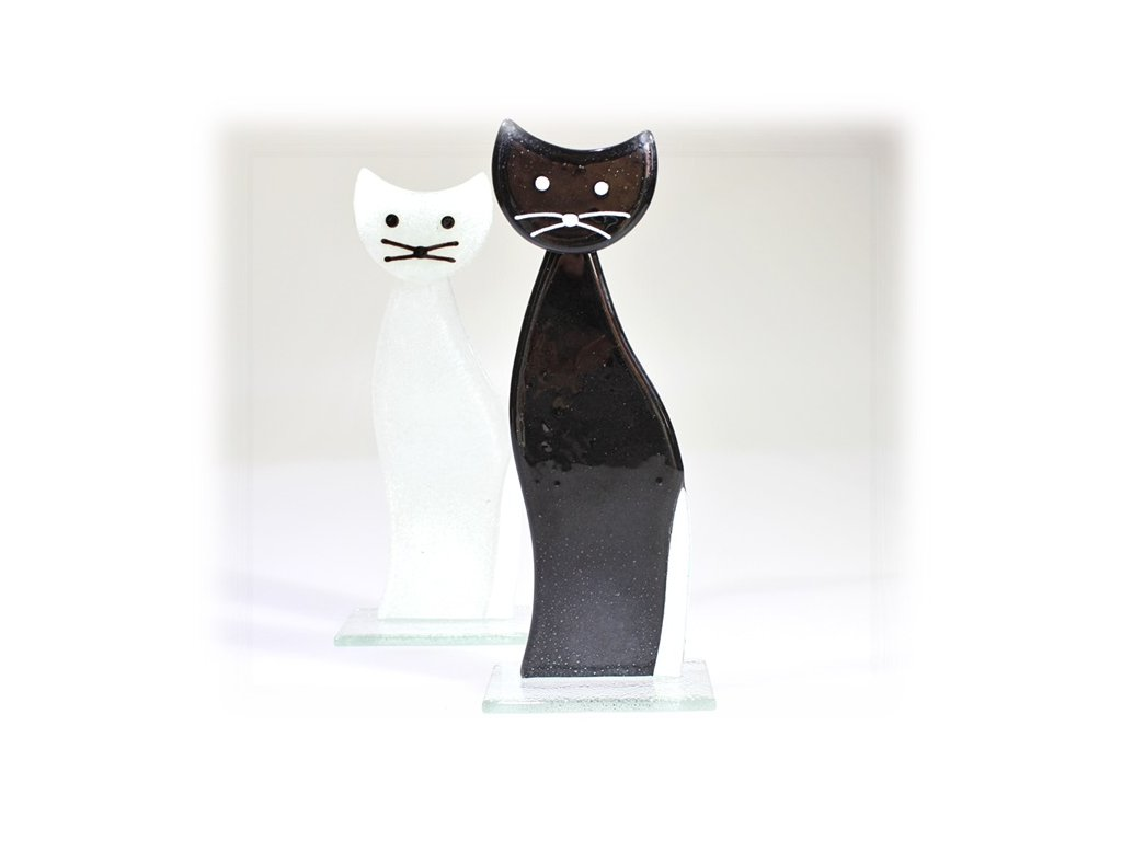 skleněná kočka černá černá stojící velká
