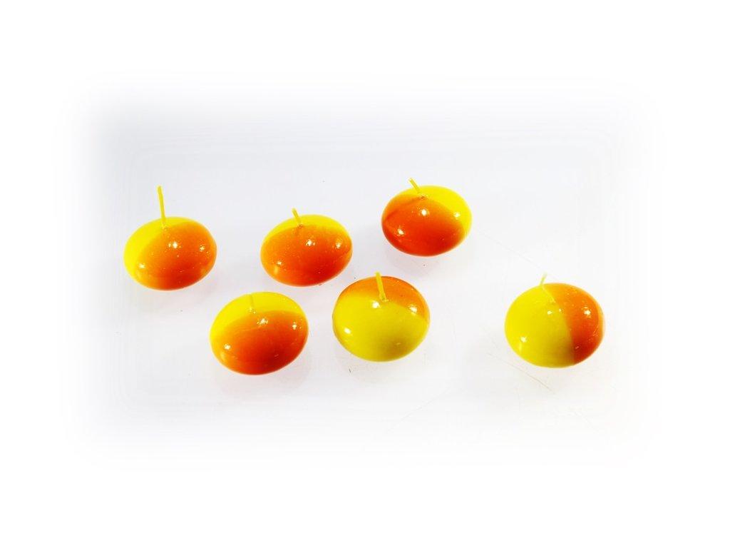 plovoucí svíčka bílá žluto oranžová