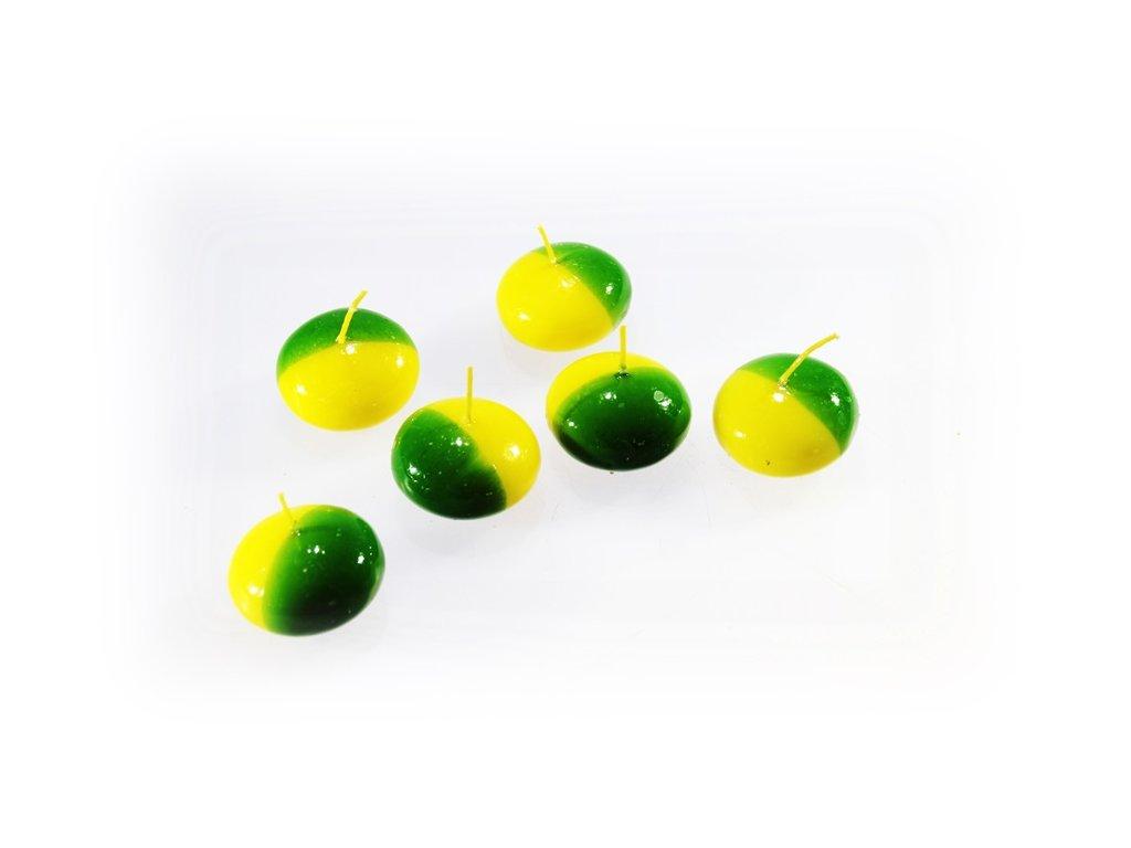 plovoucí svíčka žluto zelená