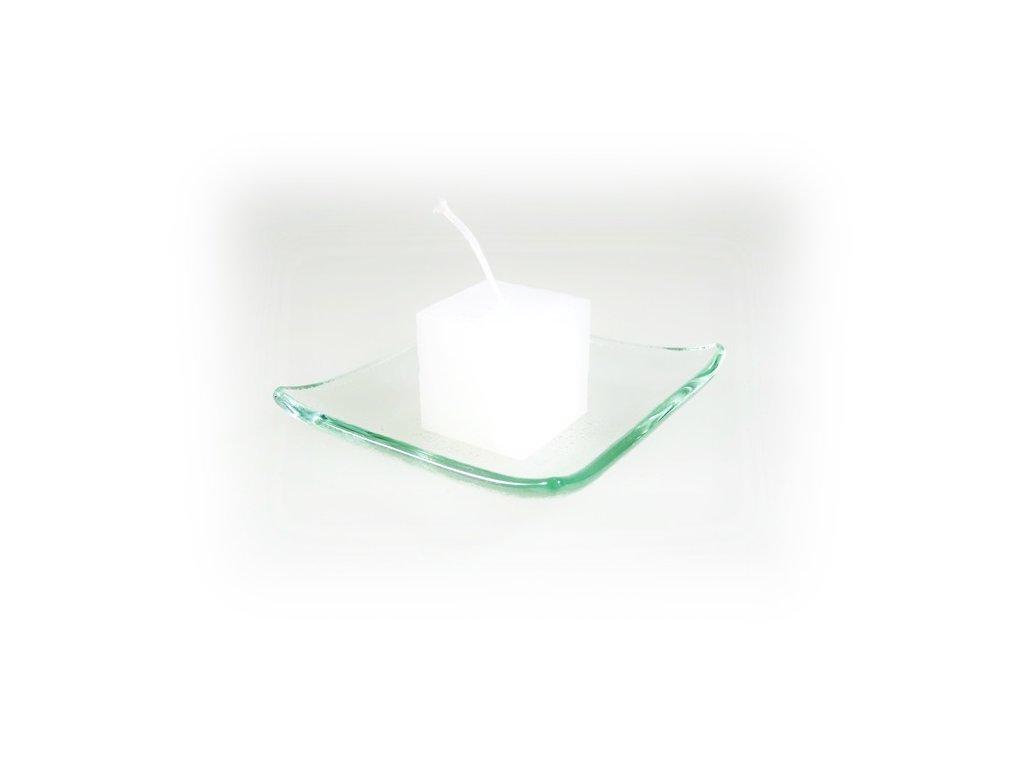 svíčka kostka malá bílá
