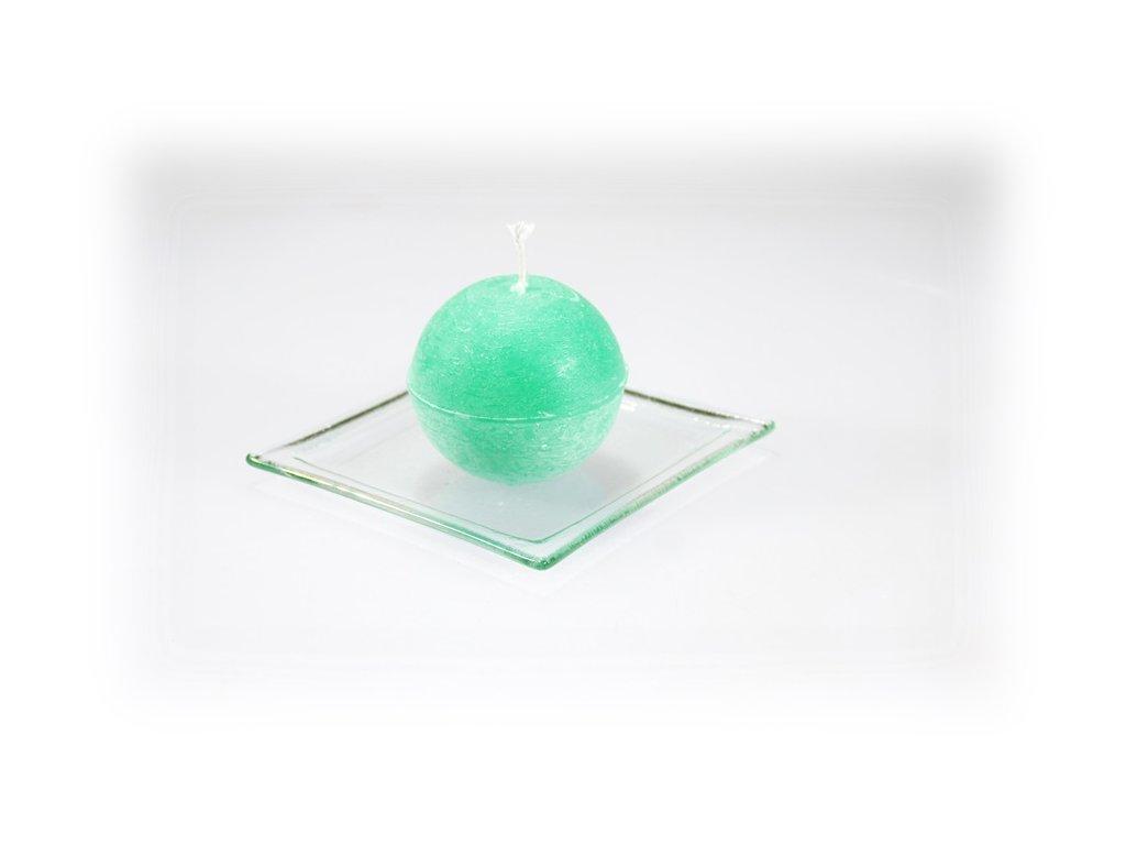 svíčka koule tmavě zelená