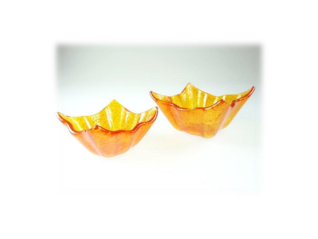 skleněné mističky winky ambrové