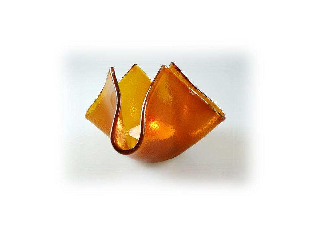 skleněný svícen květ ambrový