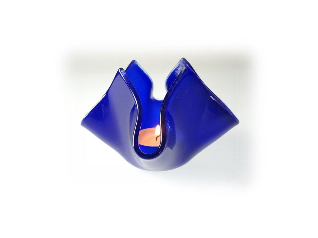 skleněný svícen květ modrý