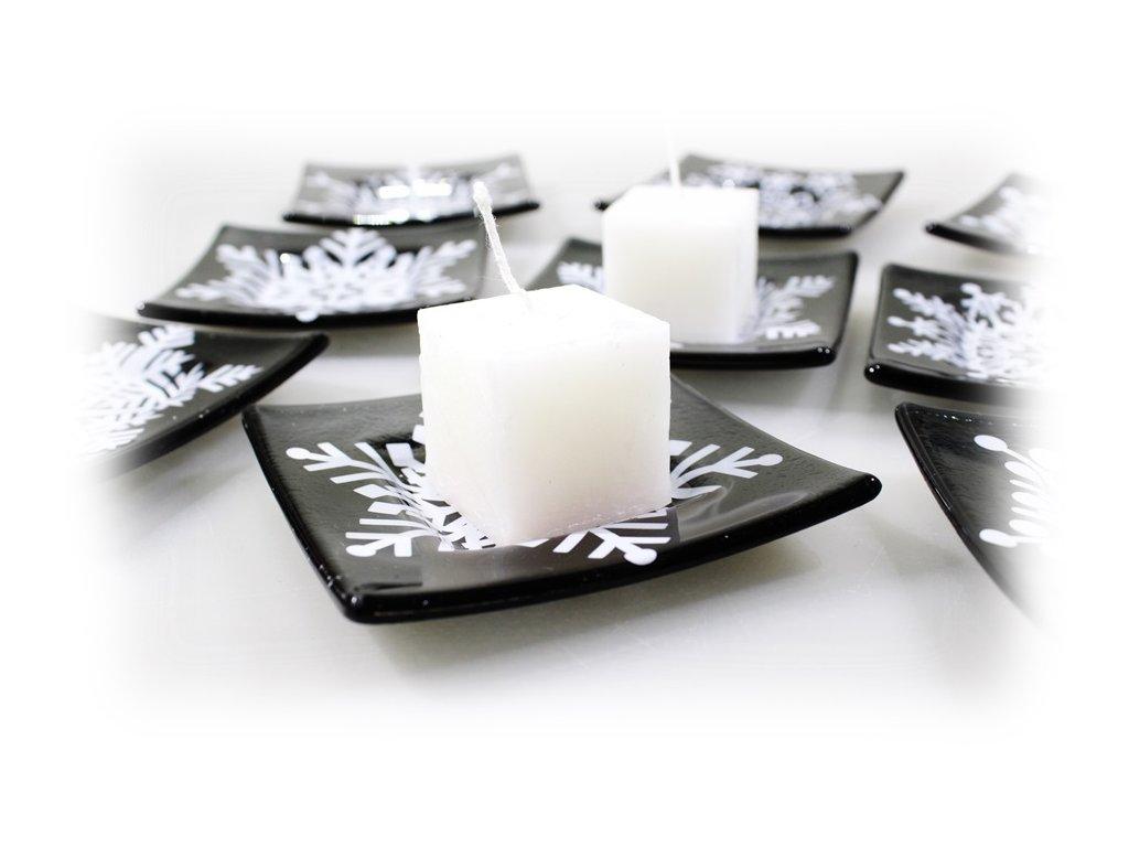 skleněný svícínek se sněhovou vločkou na 1 svíčku