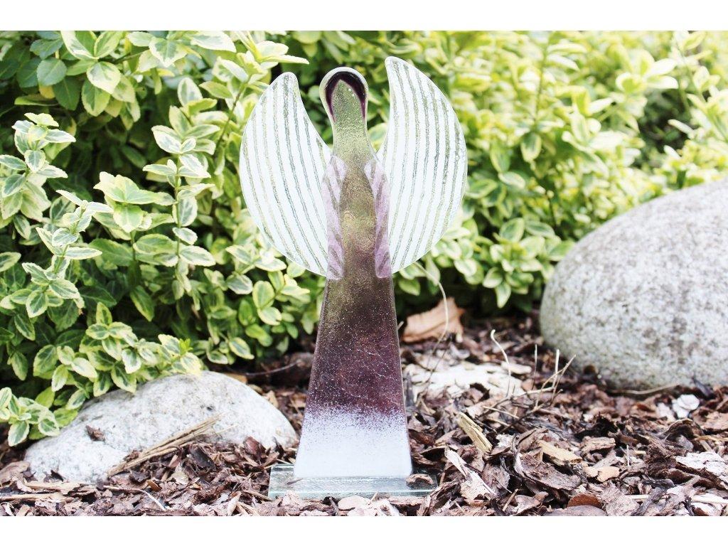 skleněný fialový anděl velký