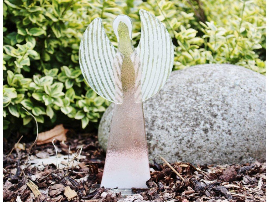Skleněný anděl béžovo bílý velký