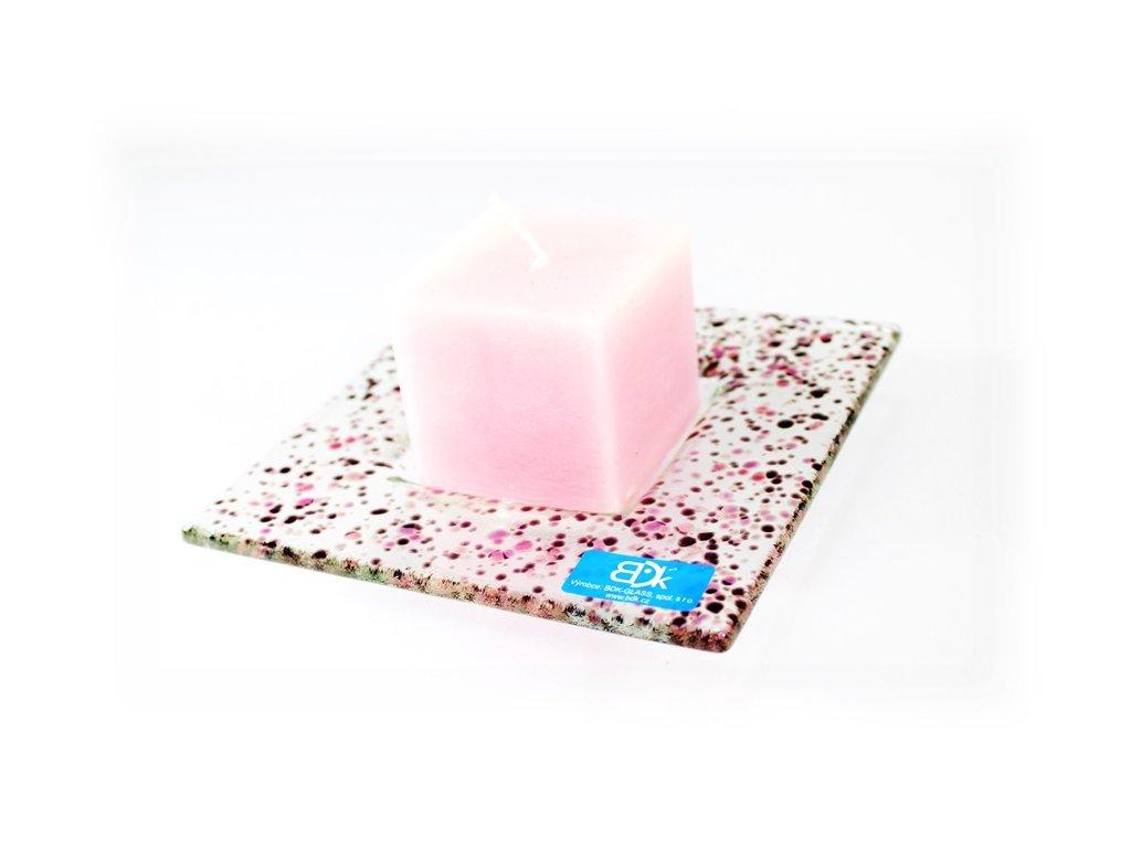 Drop skleněný tácek na svíčku 13x13cm růžový