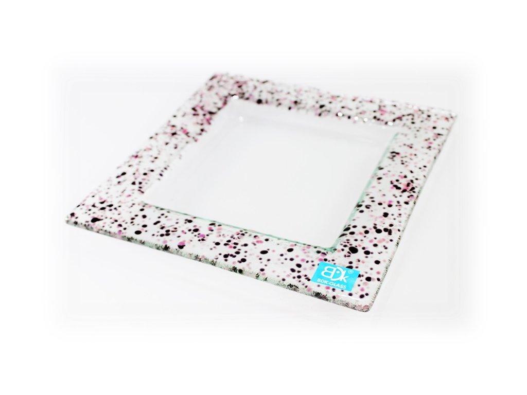 Drop skleněný tácek na svíčku 16x16cm růžový