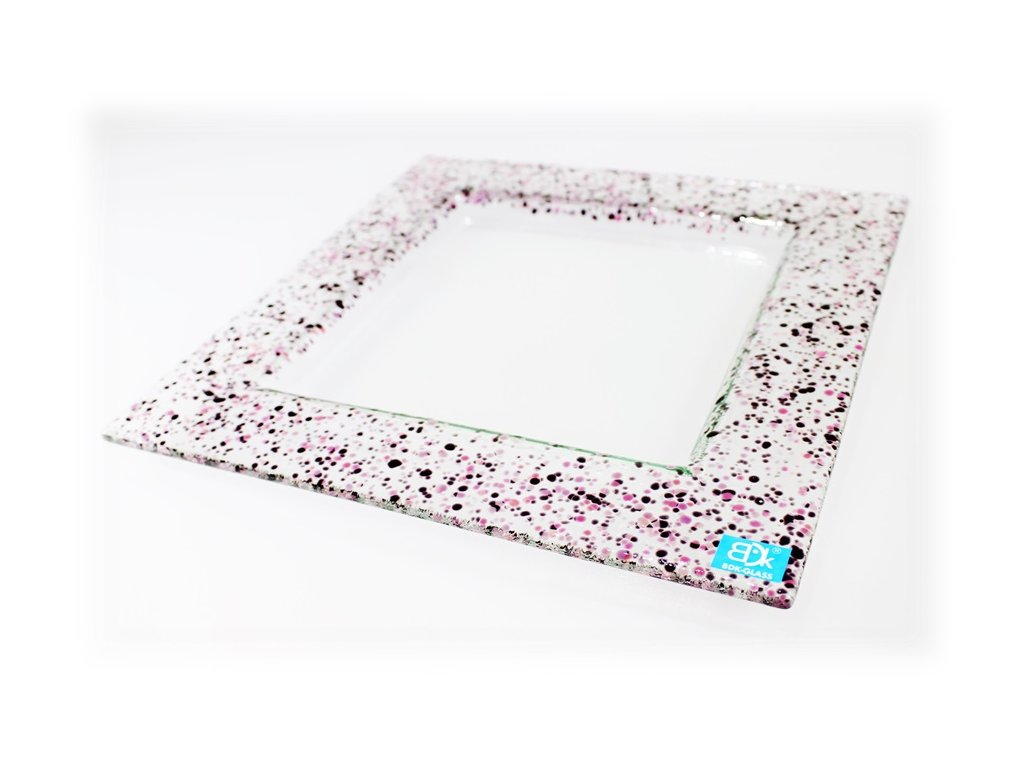Drop skleněný talíř 25x25cm růžovo fialový