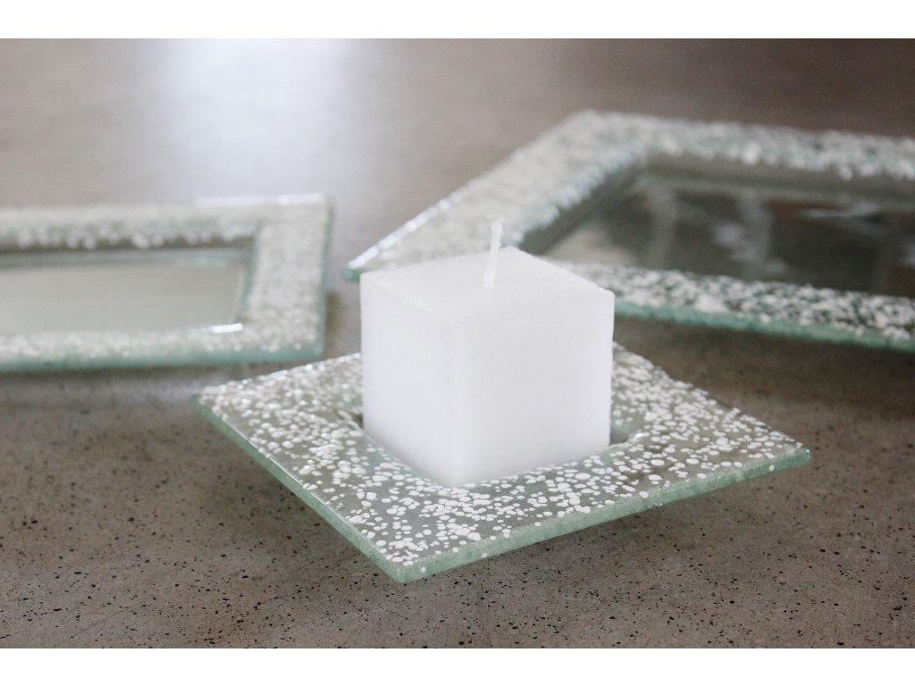 Drop skleněný tácek na svíčku 13x13cm bílý
