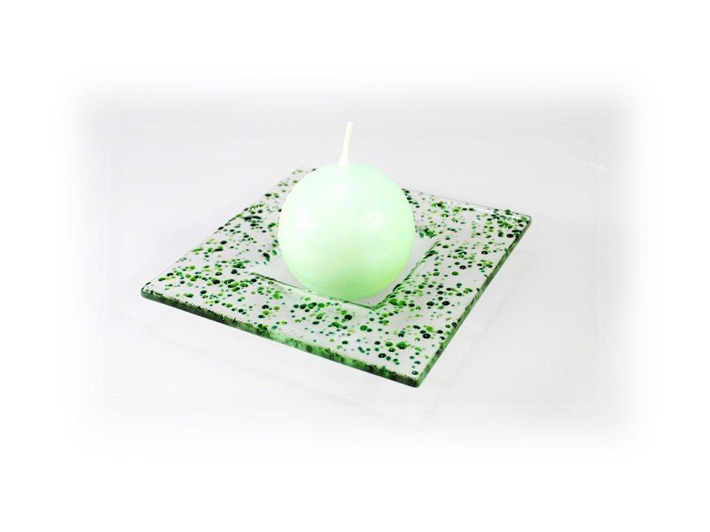 Drop skleněný tácek na svíčku 13x13cm zelený