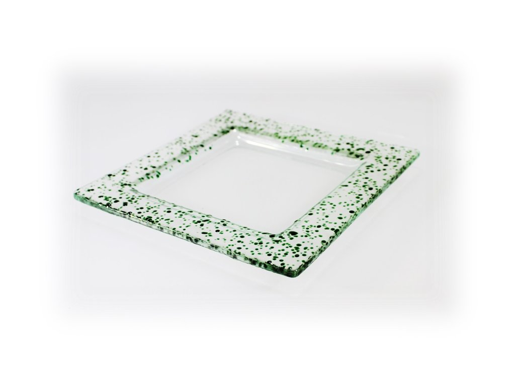 Drop skleněný tácek na svíčku 16x16cm zelený