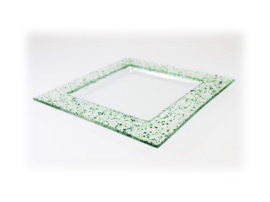 Drop skleněný talíř 25x25cm zelený