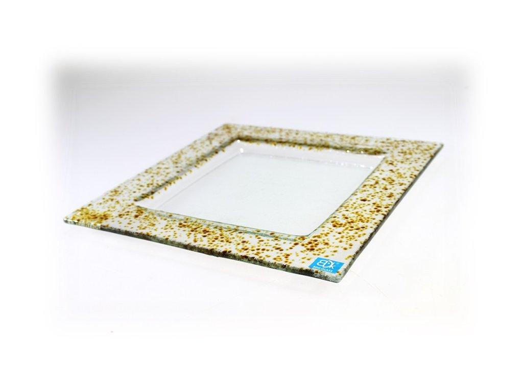 Drop skleněný talíř 25x25cm ambrová