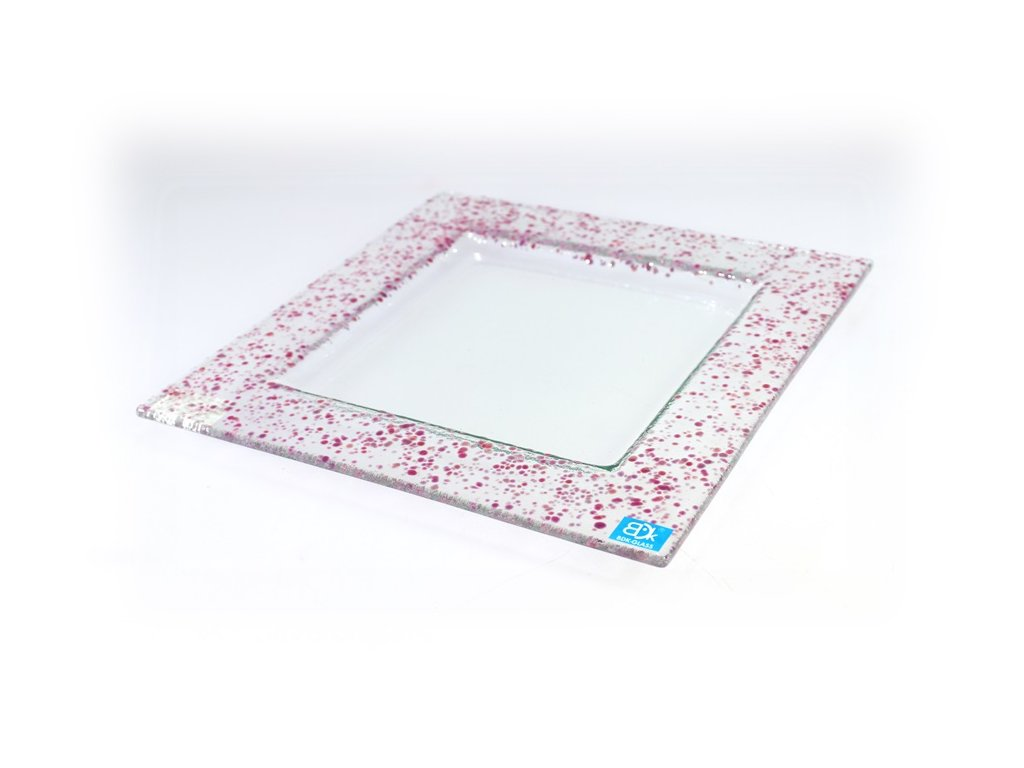 Drop skleněný talíř 25x25cm růžový