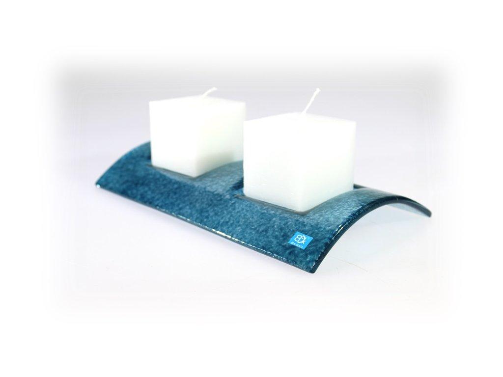 Svícen TUNEL na 2 svíčky tyrkysový celobarevný