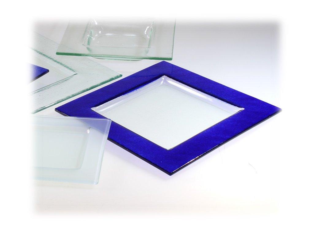 Čtvercový talíř skleněný modrý