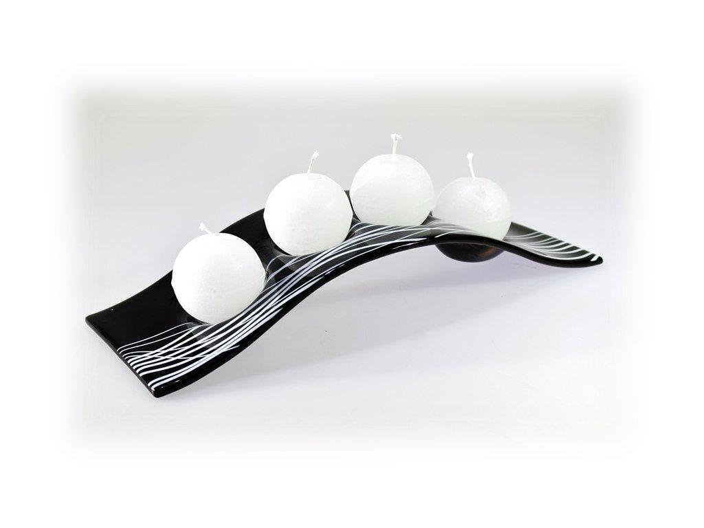 Skleněný svícen FLY tmavě šedý na 4 svíčky
