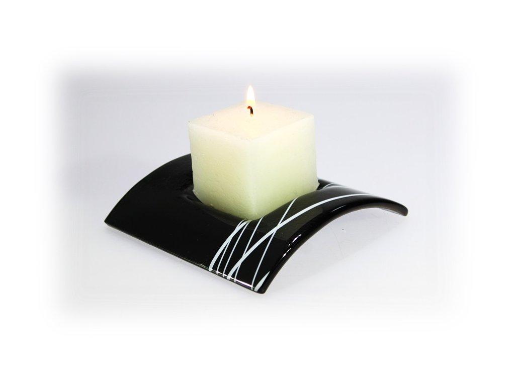 Skleněný svícen TUNEL na 1 svíčku tmavě šedý