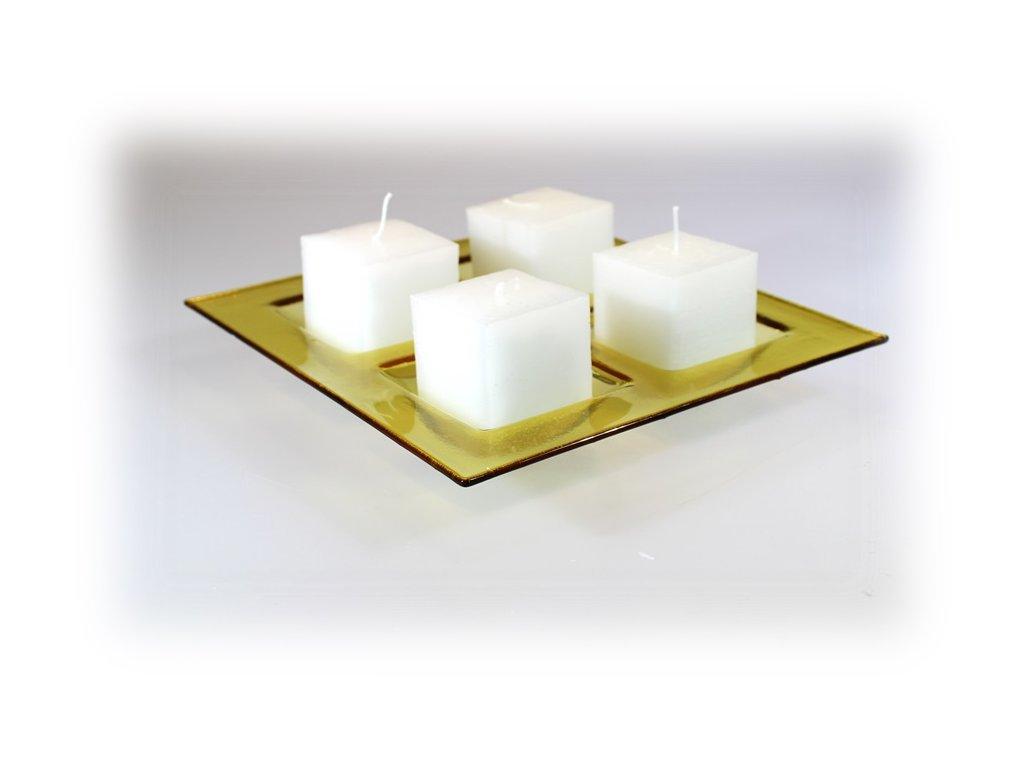 Adventní čtvercový svícen - světle ambrový