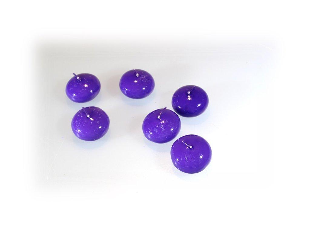 fialová plovoucí svíčka