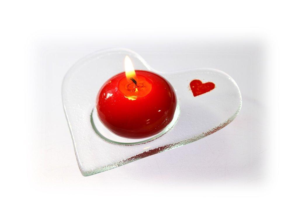 Skleněné srdíčko na čajovou svíčku čiré