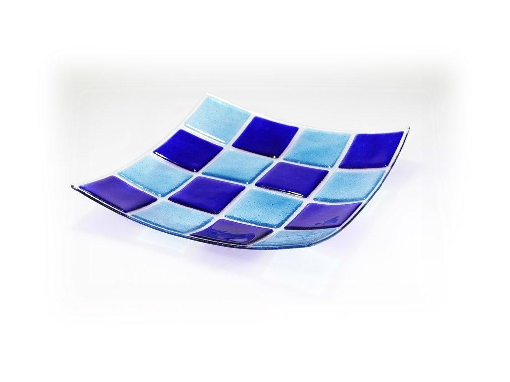 Skleněná mísa KARO modro tyrkysová