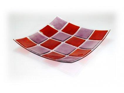 skleněná mísa červeno růžová