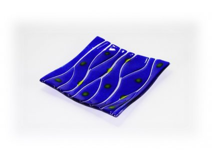 skleněná miska modrá 15x15cm