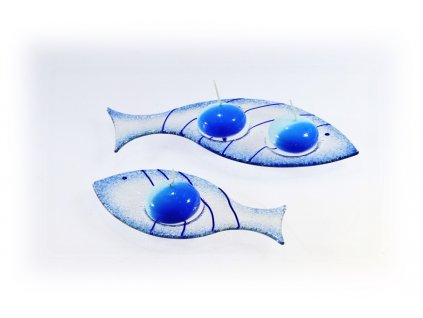Skleněný svícínek rybička FISH modrá