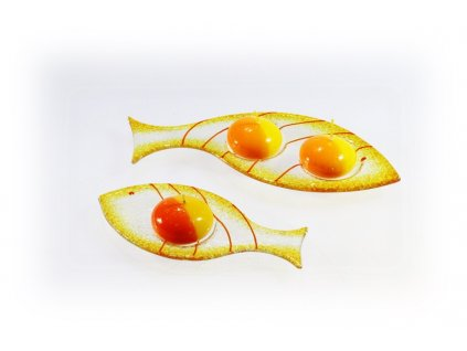 Skleněný svícínek rybička FISH ambrová