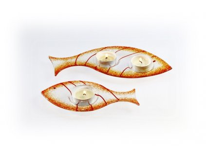 Skleněný svícínek rybička FISH oranžová
