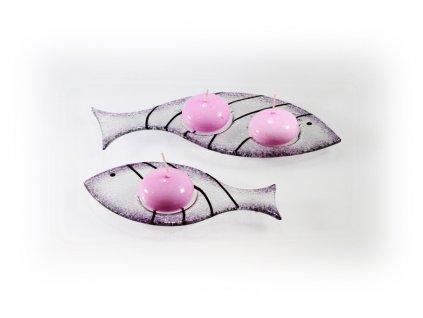 Skleněný svícínek rybička FISH fialová