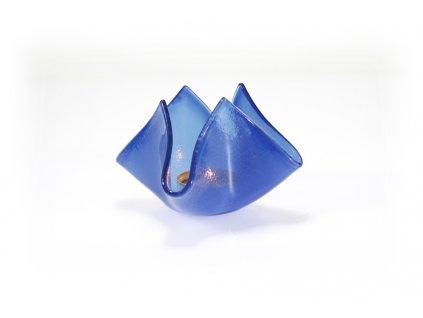 skleněný svícen květ světle modrý