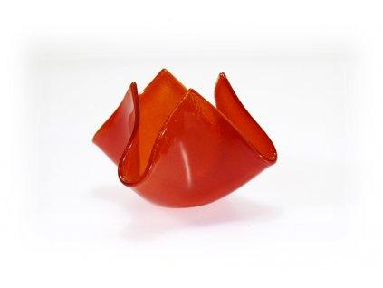 skleněný svícen květ oranžový