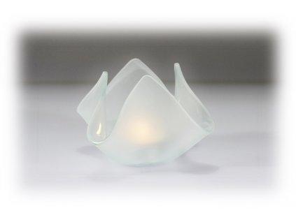 skleněný svícen květ mat