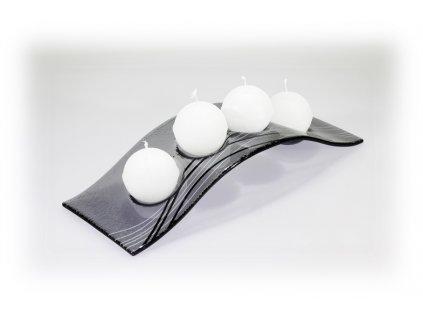 Skleněný svícen FLY šedý s linkou na 4 svíčky