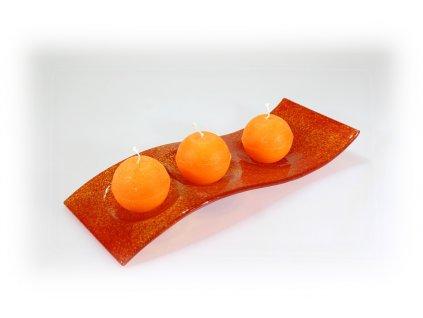 Skleněný svícen FLY tmavě oranžový