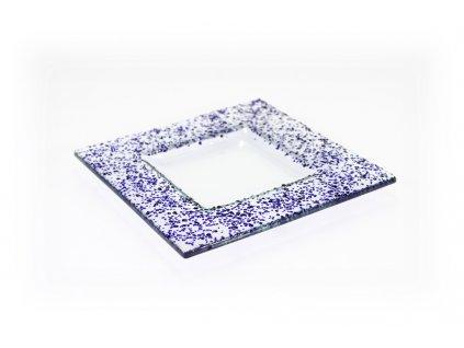 Drop skleněný talíř 16x16cm modrý