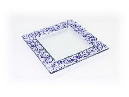 Drop skleněný talíř 18x18cm modrý