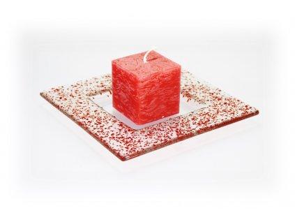 Drop skleněný tácek na svíčku 16x16cm červený