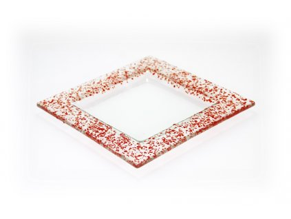 Drop skleněný tácek na svíčku 18x18cm červený