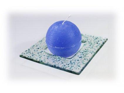 Drop skleněný tácek na svíčku 13x13cm tyrkys
